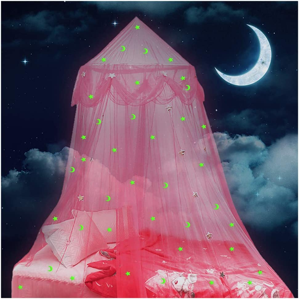 Lamdgbway Bed Canopy for Girls Glow in The Dark Stars and Moon Princess Mosquito Net Crib Hanging Tent Gift for Kids Birthday Bedroom Decor Pink