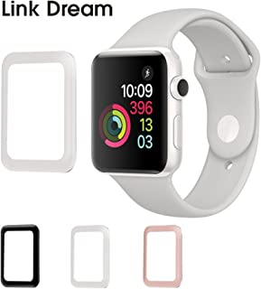 Apple Watch Tempered Glass 42mm Series 2 Anti Bubble Watch Screen Protector Scratch Free Metal Frame Full Coverage Apple Watch Accessories - White
