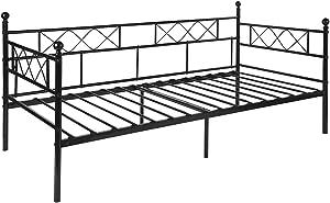 Aingoo Minimalista Sofá Cama Metálica de Descanso, con Tablillas y 6 Patas de Hierro Diseño Industrial Sencillo para Colchón de 90x190cm Negro.