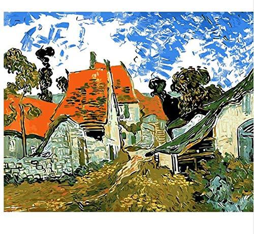 qiyan Paisaje Abstracto Pueblo casa Pintura al óleo por números Pintura a Mano coloración por número Lienzo Pintura Imagen decoración para el hogar Dibujo, 40x50cm