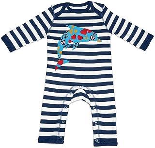 HARIZ HARIZ Baby Strampler Streifen Delfin Herzen Süß Tiere Dschungel Inkl. Geschenk Karte Navy Blau/Washed Weiß 12-18 Monate