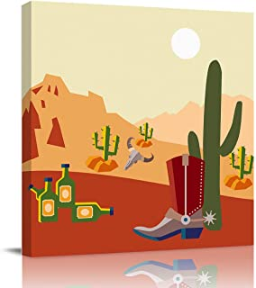 Picture on Canvas Wall Art Ready to Hang Cactus Arid Country Landscape with Sunset in Stone Desert Mountains Oil Paintings...
