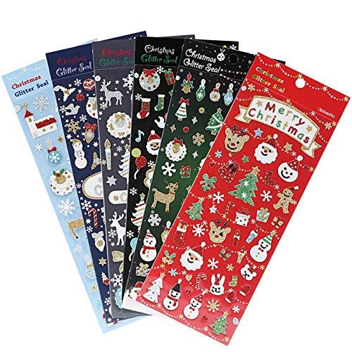 Naler 6 Hojas Pegatinas de Navidad Pegatinas con Purpurina para Decoración Scrapbooking Envoltura