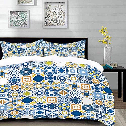 Ropa de Cama - Juego de Funda nórdica, Amarillo y Azul, Mosaico portugués, Efecto azulejo mediterráneo árabe, Mostaza Azul Violeta, Juego de Funda nórdica de Microfibra con 2 Fundas de Almohada de 50