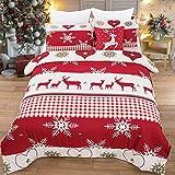 WONGS BEDDING Bettwäsche 200x200 cm Microfaser Weihnachten Bettbezug Set mit Schneeflockenmuster 3...