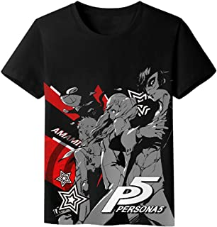 MOE T-Shirt for Men&Women Hot Anime Persona 5 P5 Tee Original Tops, Milk Silk, Black, Crew-Neck, Short Sleeve