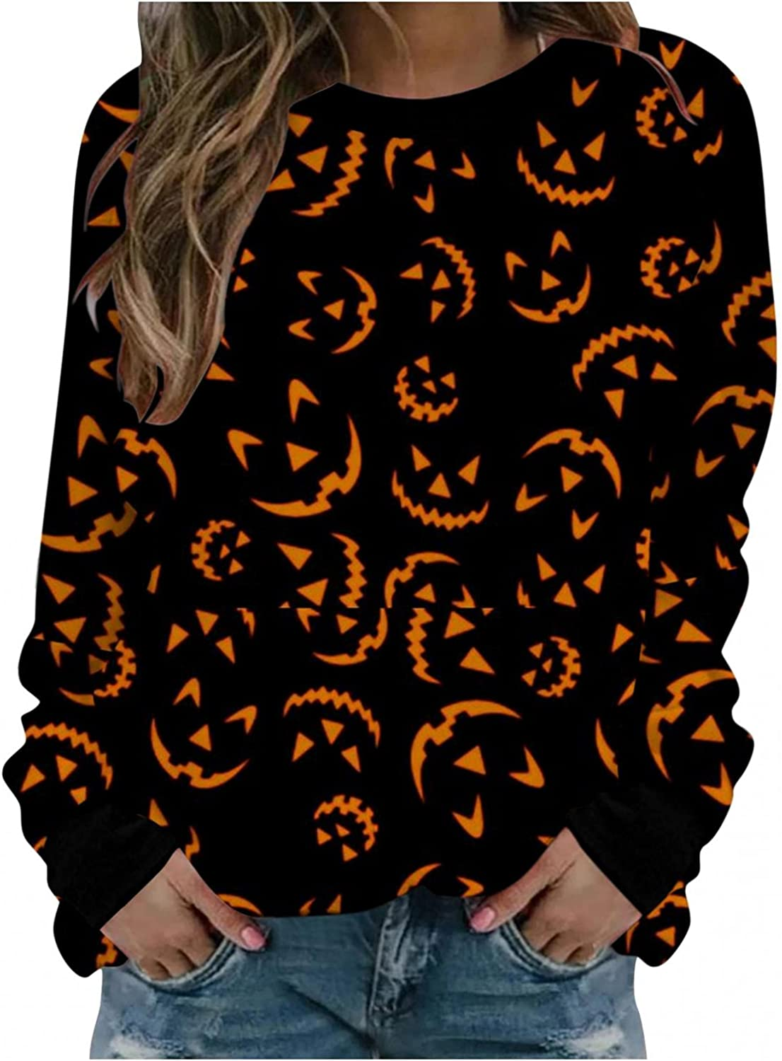 Haheyrte Sweatshirts for Womens Womens Pumpkin Face Ghost Printed Pullover Tops Casual Long Sleeve O Neck Shirts Sweaters