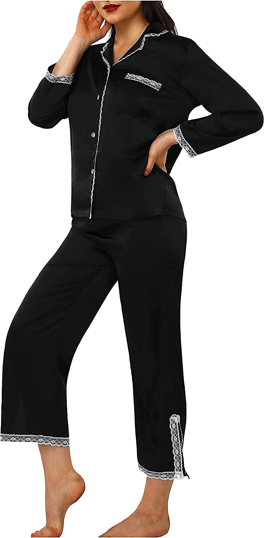 BUSCBEAR Women's Long Sleeve Pajamas Sets Satin Button DownPajama Soft Nightgowns Ladies Comfy Sleepwear