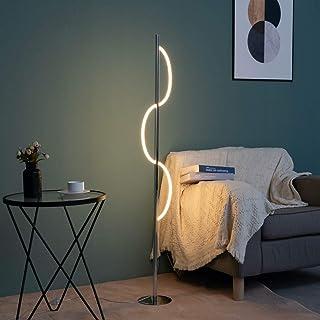 KOSILUM - Lampadaire LED chromé design ondulé - Savona - Lumière Blanc Chaud Eclairage Salon Chambre Cuisine Couloir - 20W...