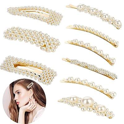 Bkpearl 9 Pcs Pearls Hair Clips, Handmade Decor...