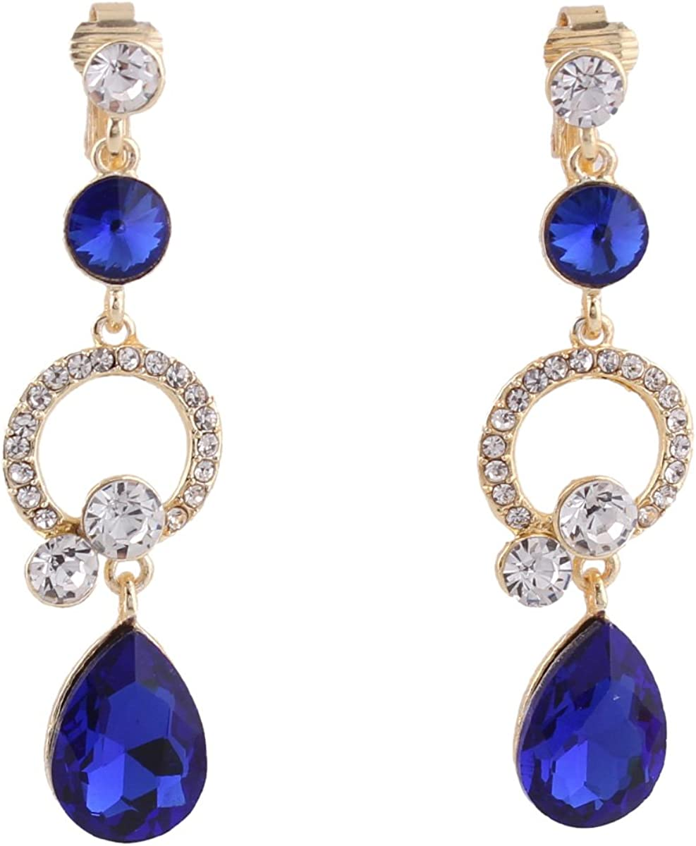 Grace Jun Rhinestone Crystal Clip on W Non Latest item for Tampa Mall Earrings Piercing