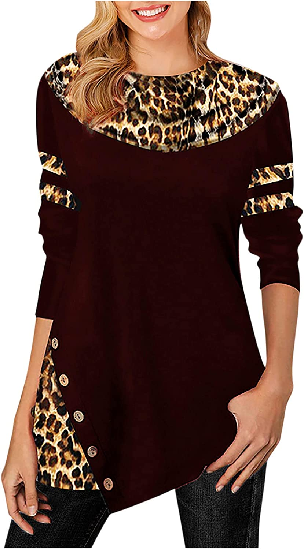 Olivcker Women Tunic Tops Leopard Printing Splicing Long Sleeve Crewneck Casual Loose Button Hem Pullover Sweatshirts