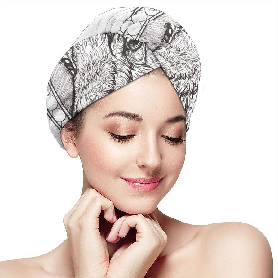 ビジネス立派な熟すリトルヤギマイクロファイバーヘアタオルターバンラージラップターバンキャップ1パック-超吸収性で髪の乾燥時間を大幅に短縮