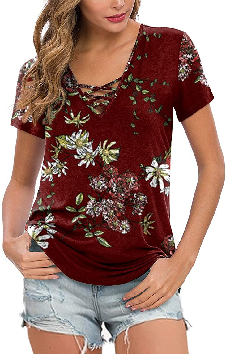Feiersi Women's Short Sleeve Criss Casual Max 59% OFF Cross Spring new work one after another Bas