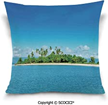 SCOCICI Double-Sided Digital Printing Couch Pillowcase Uninhabited Island at Philippines Beach Palm Trees Forest Tropical Vacation Pict Pillow Cover Hidden Zipper Customized
