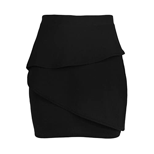 bb971ff773269 Fashion Star Womens Bodycon Ruffle Peplum Frill Elasticated Waist Pencil  Mini Skirt