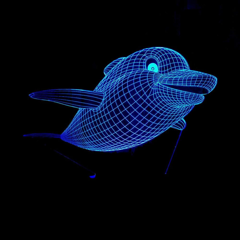 Laofan 3D Nachtlicht Led Home Decor Dolphin Lampe Schlafzimmer Tisch Schreibtisch Cafe Schlaf Beleuchtung Geschenk,Remote und berühren