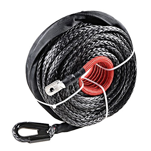 """Price comparison product image Astra Depot 95ft x 3 / 8"""" Black Synthetic Winch Rope Line Cable 20500LBs w / Protective Sleeve ATV UTV Truck Boat Ramsey"""