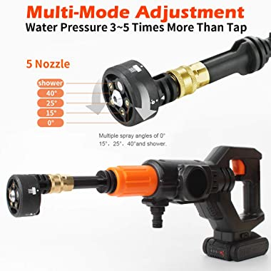 20V Cordless Pressure Washer Max 30Bar 435PSI Portable Pressure Cleaner with 3.0Ah Lithium-Ion Battery, Charger and Cleaning