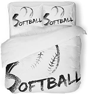 SanChic Duvet Cover Set Ball Softball Made with Grungy Brush Swooping Through the Air Over Grunge of Word Equipment Decorative Bedding Set with 2 Pillow Shams Full/Queen Size