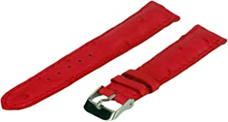 Leather Watch Strap, Genuine Ostrich Leather, Red, 26 mm, Long Length