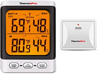 ThermoPro TP62 Digital Wireless Hygrometer Indoor Outdoor Thermometer Temperature and Humidity Gauge Monitor with Backlight LCD Display Humidity Meter, 200ft/60m Range