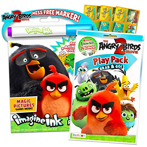 Angry Birds Coloring and Activity Set Bundle ~ Angry Birds Mess-Free Coloring Book with Magic Pen and Mini Angry Birds Coloring Book Play Pack with Crayons and Stickers (Angry Birds Party Supplies)