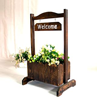 Kituir Wooden Outdoor Creative Flower Pot Solid Wood Living Room Aisle Decorative Plant Seeder Flower Stand Hotel Restaurant Welcome Flower Box Flower Stand