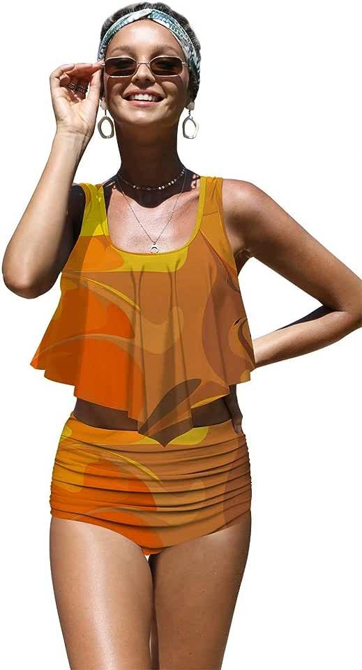 Angerella Womens Absctract Pattern Summer Flounce Bikinis High Waisted Swimsuits,S-16 Tan