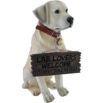 Zeckos Labrador Retriever Garden Welcome Statue Reversible Sign Don't Stop Retrievin