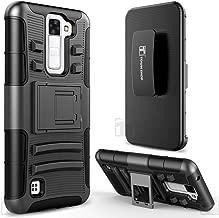 LG Escape 3 Case, LG Phoenix 2 Case, LG K8 Case, TownShop Black Rugged Impact Armor Hybrid Kickstand Cover with Belt Clip Holster Case for LG K8 / LG K350N / LG Escape 3 / LG Phoenix 2