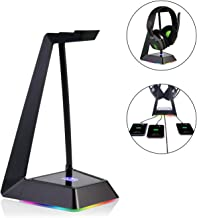 RGB Headphone Stand with USB Charger Desk Gaming Headset Holder Hanger Rack 3X USB 3.0 Ports - Non-Slip Rubber Base Suitable for Gamer Desktop Table Game Earphone Accessories Boyfriend Gift, Black