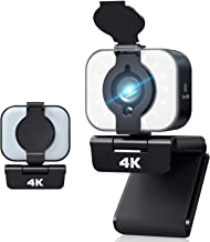 2021 New Version 4K Upgraded Webcam with Adjustable Fill Light and Privacy Cover USB Camera with Microphone Wide Screen Pr...
