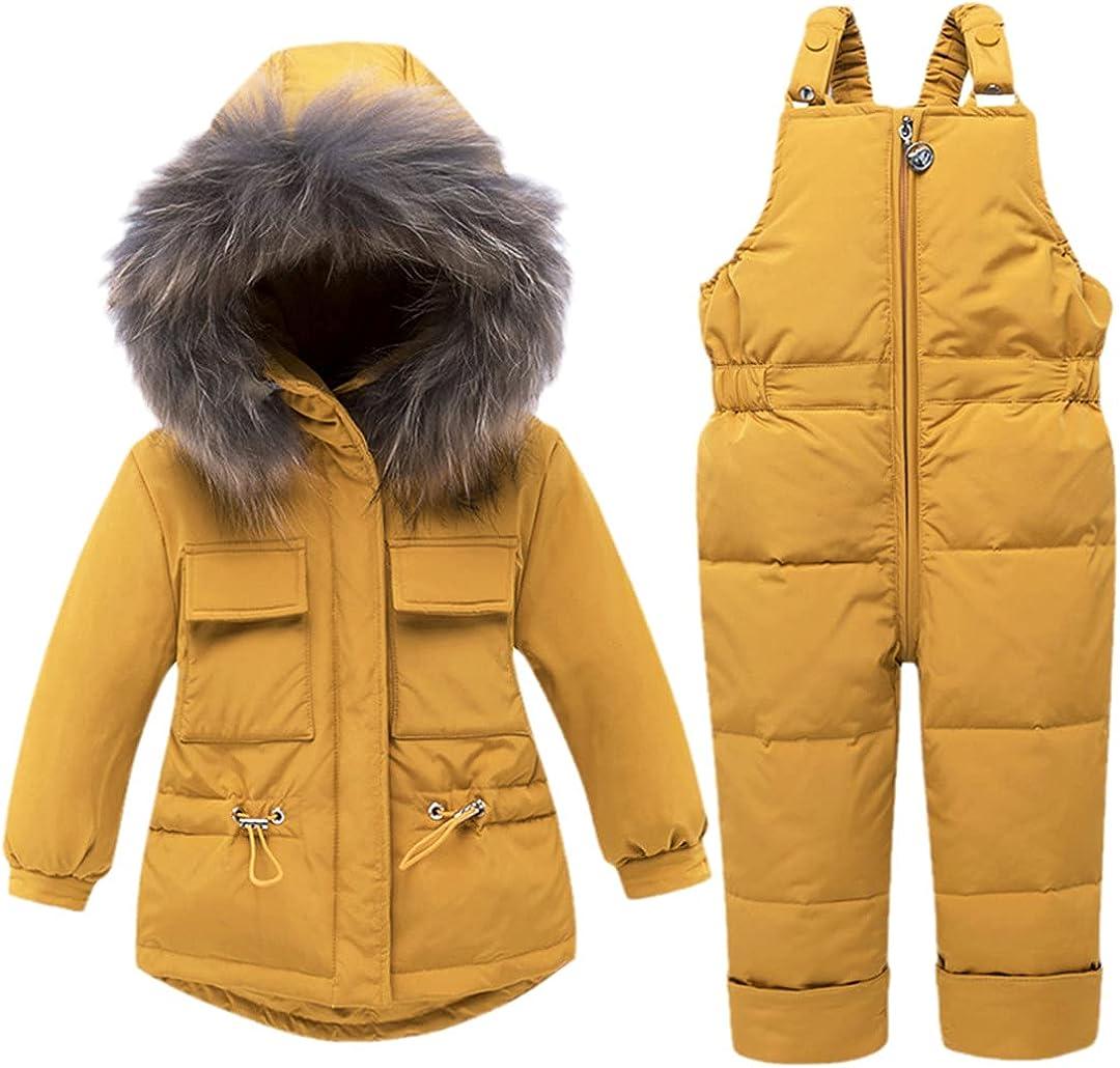 Kids Girl Sets Winter Hooded Coat + Overalls Jumpsuit Snow Children Ski Suit