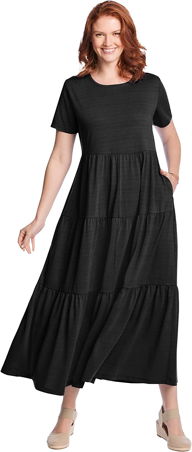 Woman Within Women's Plus Size Short-Sleeve Tiered Dress