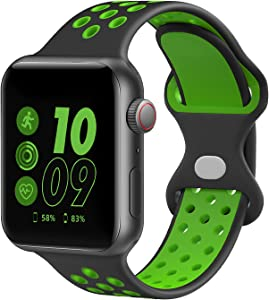 AIHSJIS Sport Bands Compatible with Apple Watch Bands 38mm 40mm 42mm 44mm,Breathable Soft Silicone Sports Replacement Bands,Man Women,Compatible with iWatch Series 6 5 4 3 2 1 SE Black/Green