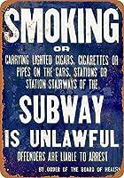 地下鉄での喫煙は違法です メタルポスタレトロなポスタ安全標識壁パネル ティンサイン注意看板壁掛けプレート警告サイン絵図ショップ食料品ショッピングモールパーキングバークラブカフェレストラントイレ公共の場ギフト