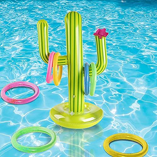 Aufblasbarer Kaktus, Sich Schwimmenden Schwimmen-Kaktus-Ring, Aufblasbarer Ring Toss Spiel Set, Wurf-Wasser-Spielwaren Stellten, Zubehör Wasser Spaß Spielzeug Für Kinder Erwachsene