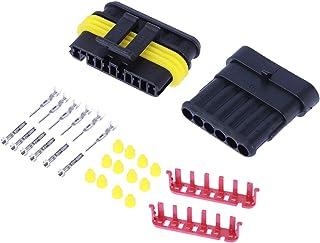 Vosarea 5 Kit 6 Pin Stromanschluss, elektrisch, wasserdicht, Stecker für Motorräder, HID Endstücke, hitzebeständig, 5 Stück