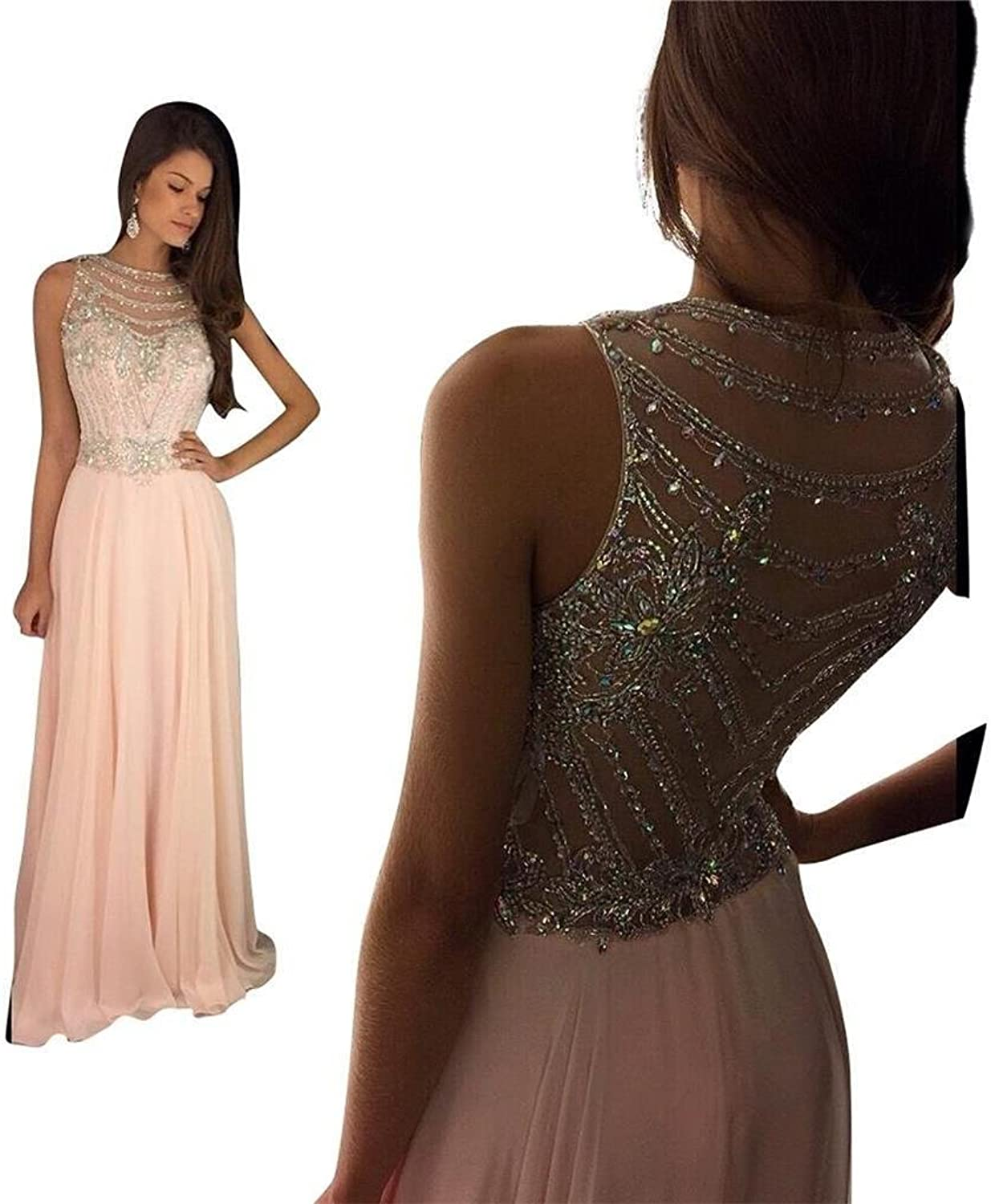 KISSBRIDAL Women's Pink Crystal Beaing Prom Dress Long Fitted Formal Evening Gown