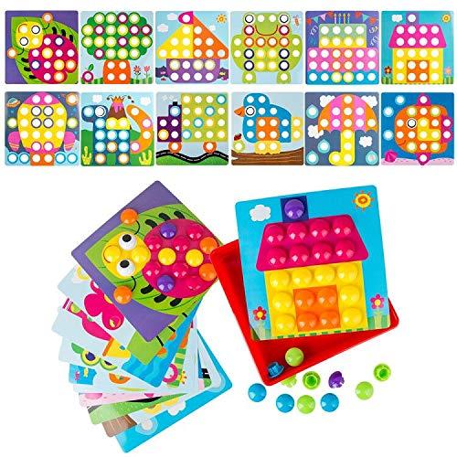 LVHERO Mosaik Steckspiel für Kinder ab 2 Jahre, Steckmosaik mit 46 Steckperlen und 12 Bunten Steckplätte, Mosaiksteine mit Ø 3.5cm, Pädagogische Baustein Sets, Lernspielzeug Geschenke