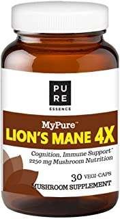 MyPure Lion's Mane 4X Mushroom Extract Supplement by Pure Essence - 100% from Fruiting Bodies to Support The Immune System, Combat Stress, Build Energy - 30 Caps