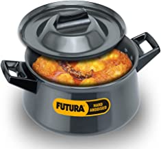 Futura Hard Anodised Handy Sauce Pan with Lid and 2 Handles, 3-Liter,Black,21cm