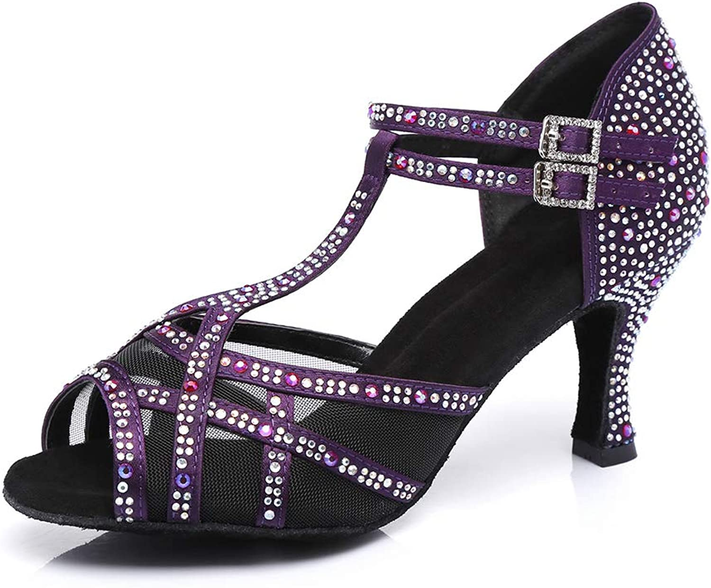 HIPPOSEUS Women's Latin Dance shoes with Rhinestones Ballroom Party Tango Performance shoes,Model YC372