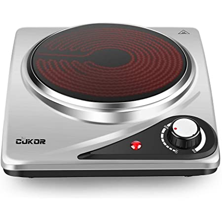 CUKOR Electric Single Hot Plate,Portable Stove,1200W Infrared Single Burner for cooking, Heat-up In Seconds, 7.1 Inch Ceramic Cooktop for Dorm Office Home Camp, Compatible w/All Cookware