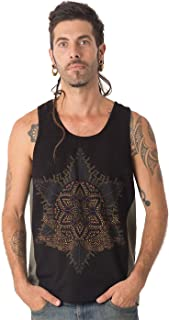Anahata Men's Printed Tank Top with Printed Psychedelic Mandala Design