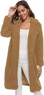TOALOL Cardigan Cappotto Pelliccia Donna Elegante Tinta Unita Risvolto Manica Lunga con Tasche Moda Autunno Invernale S-3XL