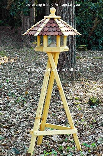 dobar 44136e Großes XXL Vogelhaus aus Holz (Kiefer) für Garten, Balkon, mit dunklen Holzschindeln, Silo mit Futterpyramide, 6 Anflugstangen für Vögel – XL Vogelhäuschen Vogelfutterhaus - 4