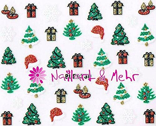 Zelfklevende sticker met glitter #FL-30 ~ fonkelend en kleurrijk ~ Kerstmis, geschenken, Santa-muts, Kerstboom