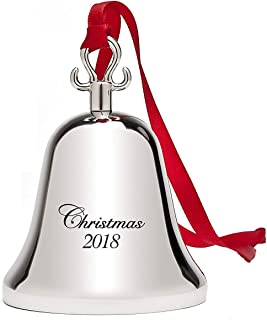 Klikel 2018 Christmas Bell | Holiday Tree Ornament Decoration | with Red Tie Hanging Ribbon | Engraved Christmas 2018 | 5th Annual Edition
